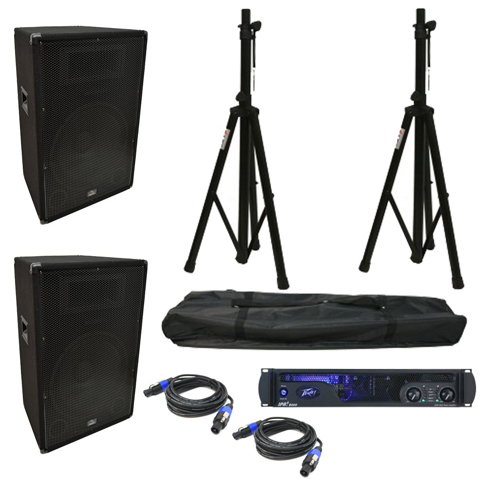(2) Harmony Audio HA-V15P DJ 15'' 900W PA Speaker Peavey IPR2 2000 Cables Stands by Harmony Audio