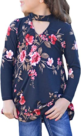 storeofbaby Girls Long Sleeve T Shirt Crew Neck Lace Stitching Solid Color Casual Tunic Tops
