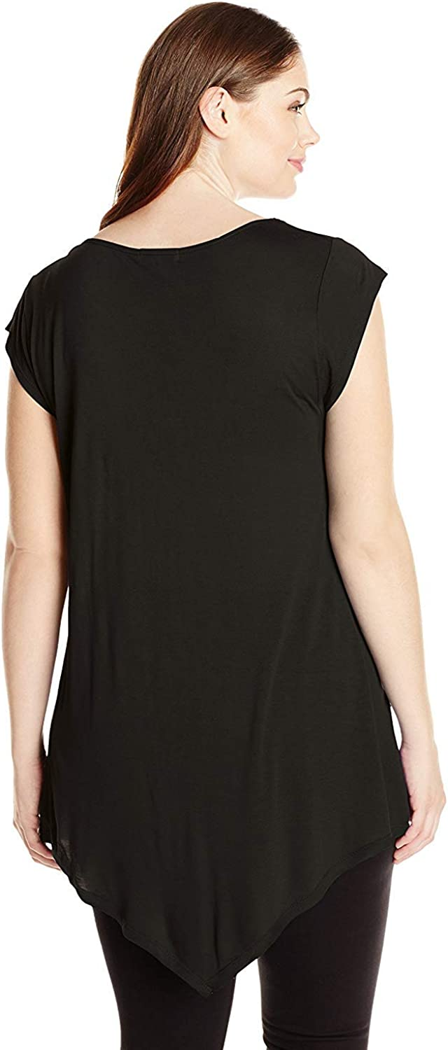 Paper Tee Womens Plus-Size Scoop Neck Uneven Swing Hem Top