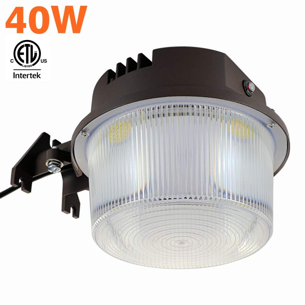 Shine Tech LED Security Area Light 40 Watts - Dimmable Barn Light Dusk to Dawn with Photocell - Ultra Bright Yard Light 5500 Lumens, 5000K, 400W Incandescent or 150W HID Light Equal, 5-Year Warranty