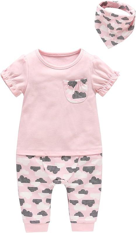 Recién nacido Niñas Peleles con Babero Bandana 2-pieza Conjuntos Algodón Mameluco Pijama Bebé Tuta Outfits, 3-6 Meses: Amazon.es: Bebé