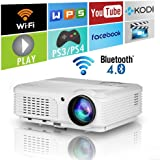 EUG HD Bluetooth Wireless 1080P LED Home Projector HDMI Android LCD Digital Movie Gaming Projector Wifi Airplay Miracast for Iphone Ipad Mac Phone Laptop PC Tablet TV Blueray DVD PS4 XBOX Wii U