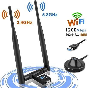 Jusale WiFi USB 1200Mbps, Antena WiFi Adaptador Wireless USB 3.0, Receptor de Red con 2x5dBi Antenas para PC/Desktop/Laptop, Dual Band 2.4GHz/5GHz, ...