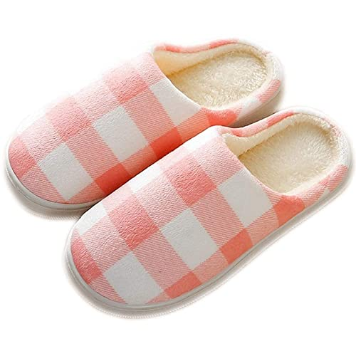 3aa07b0cf14 House Shoes Women s Men s Warm Plaid Slippers Cotton Home Shoes Comfortable  Fleece Memory Foam Plush Lining