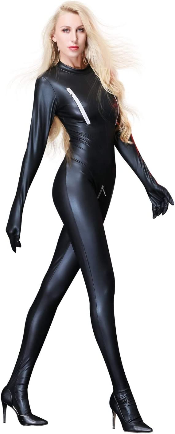 FUNFSEX Full Body Catsuit Women Wet Look Jumpsuit Zipper Catsuit Zipper Chest Crotch Bodysuit,Back Zipper Patent Leather Long Sleeve Jumpsuit