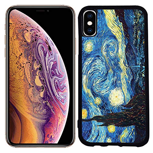 - [TeleSkins] - Rubber TPU Case for iPhone Xs Max 6.5 inch (2018) - Vincent Van Gogh The Starry Night - Ultra Durable Slim Fit, Protective Plastic with Soft Rubber TPU Snap On Back Case/Cover.