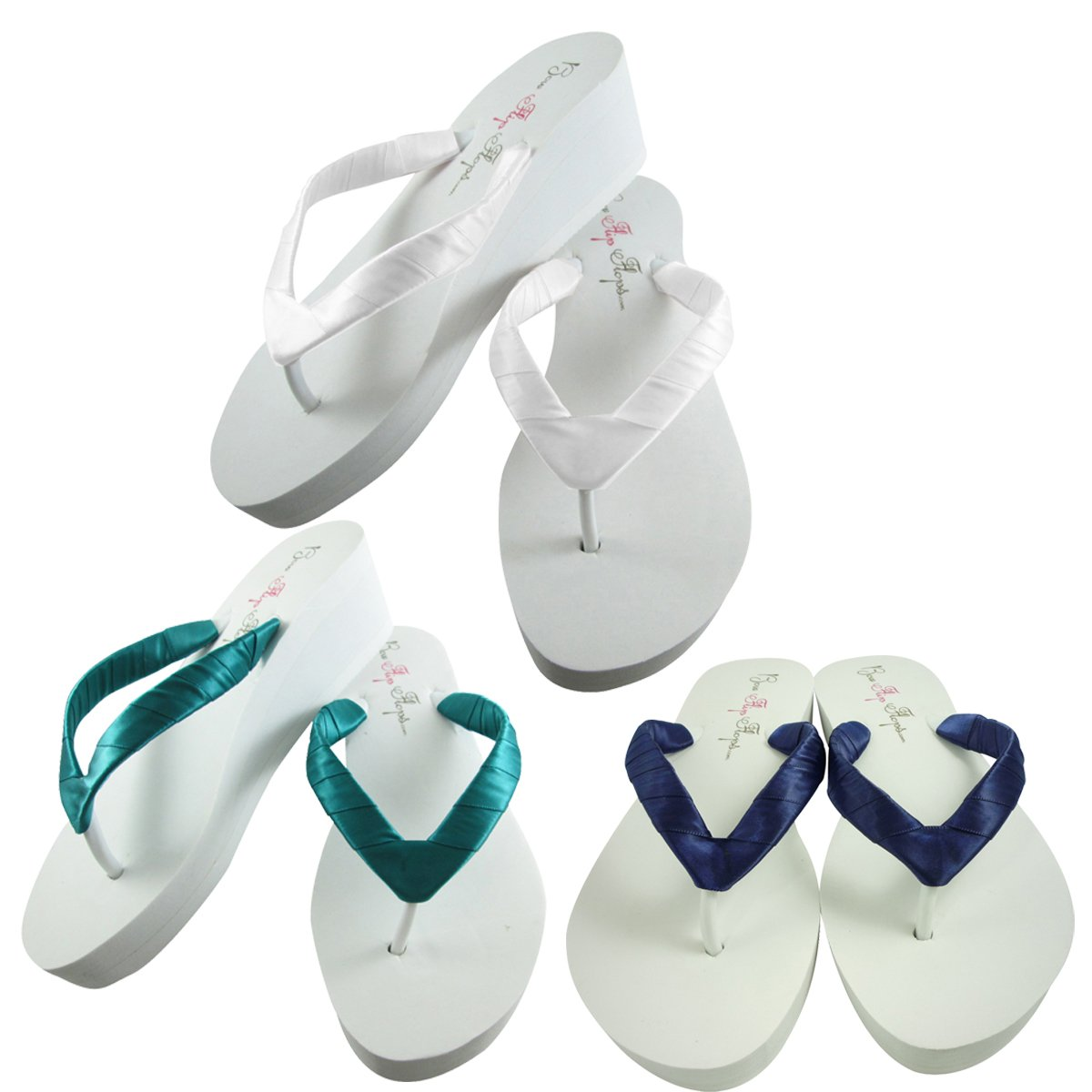 e148991a0bfd9f Pick Out Your Satin Ribbon Color - Wedge Heel Wedding Flip Flops
