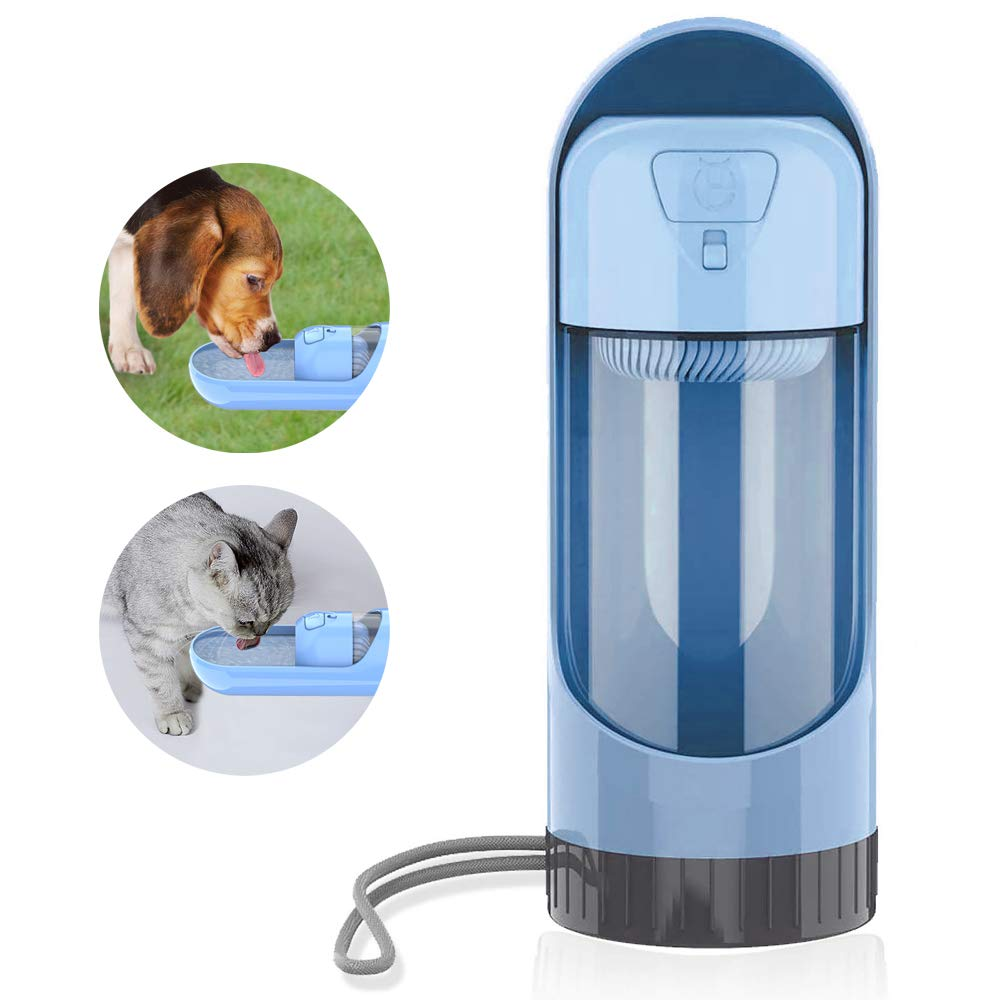 GOSTAR Dog Water Bottle Dispenser for Walking and Traveling, Portable Water Bottle with Activated Carbon Filter, Retractable & Leak-Proof Dog Drinking Bottle