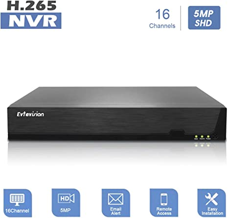 1080P Network Video Recorder 16 Canales CCTV NVR Onvif P2P Quick QR Code Scan w//Easy Remote View Salida HDMI//VGA Evtevision 16CH 5MP Disco Duro no Incluido y sin WiFi Incorporado
