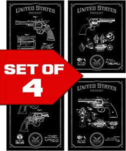 Wallables Black Revolvers Patents Decor Set of Four 8x10 Gun Themed Decorative Prints, Colt, Smith & Wesson, Great for Bachelor pad, Office, Living Room.