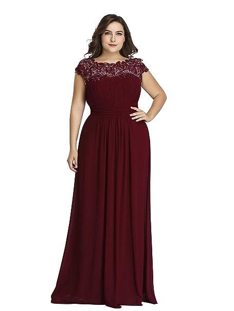Ever-Pretty Vestito da Sera Donna Stile Impero Chiffon Pizzo A Line  Elastico sul Retro 07629  Amazon.it  Abbigliamento c05dbfe8096