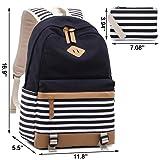 20b5ccaaa98d Galleon - Canvas Backpack Girls Stripe School Bookbag Women College ...
