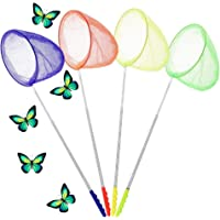 TeenyExplorers 4 Pack Telescopic Butterfly Net, Anti Slip Grip, Perfect for Catching Insects, Bugs and Small Fish