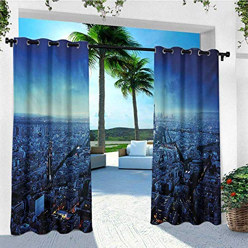 leinuoyi Cityscape, Outdoor Curtain Grommet, Skyline at Sunset France European Parisian Landmark Travel Destination Monochrome, for Gazebo W108 x L108 Inch Navy Blue ()