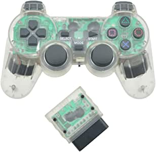 Wireless Gamepad 2.4G for PS2 Controller for Playstation 2 Console Joystick Double Vibration Shock Joypad Wireless Controller - Green