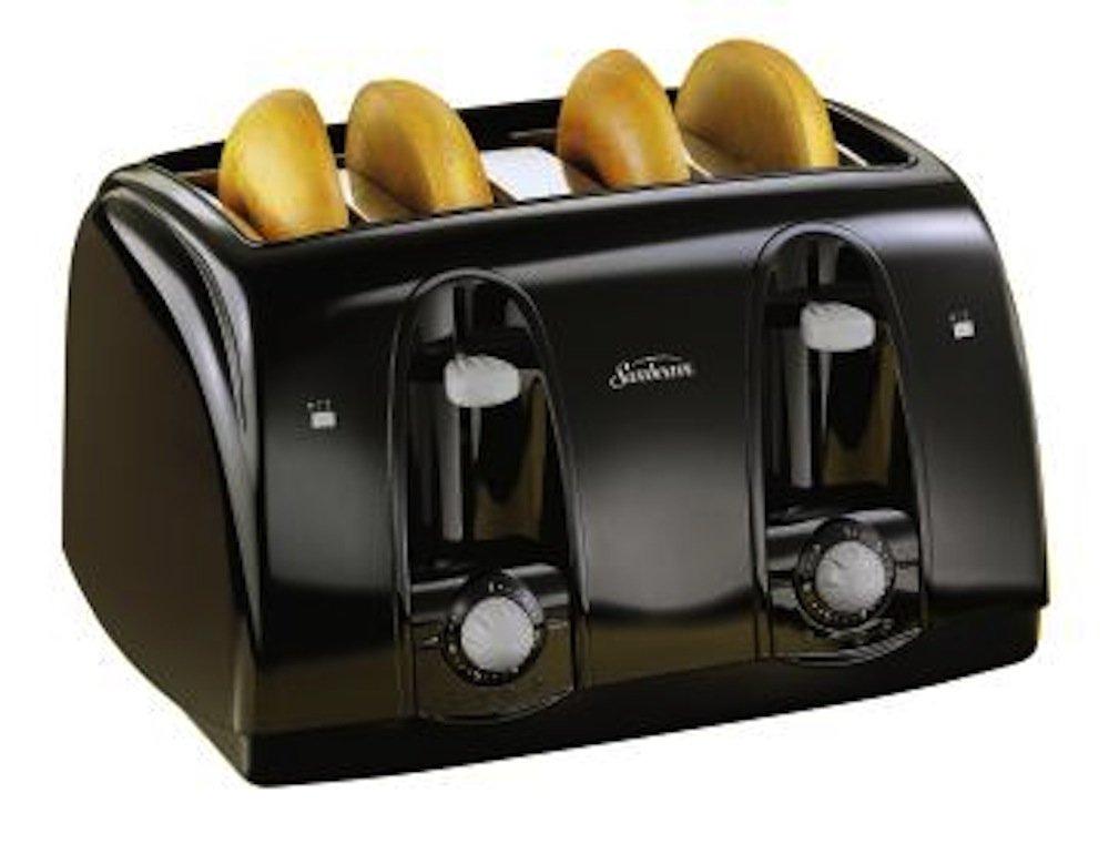 sunbeam 3911 4 slice wide slot toaster black ebay. Black Bedroom Furniture Sets. Home Design Ideas