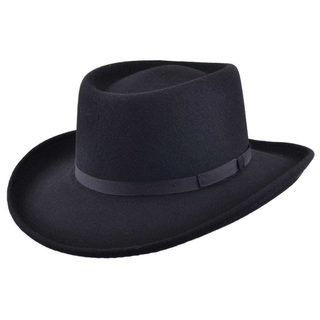 Gambler Cowboy Hat Black Wool Felt with Ribbon Trim