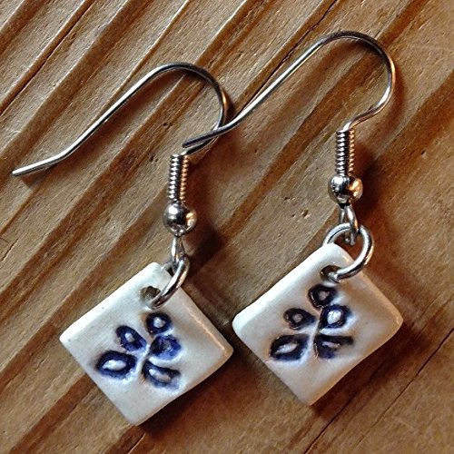 Porcelain with Blue Flowered Earrings