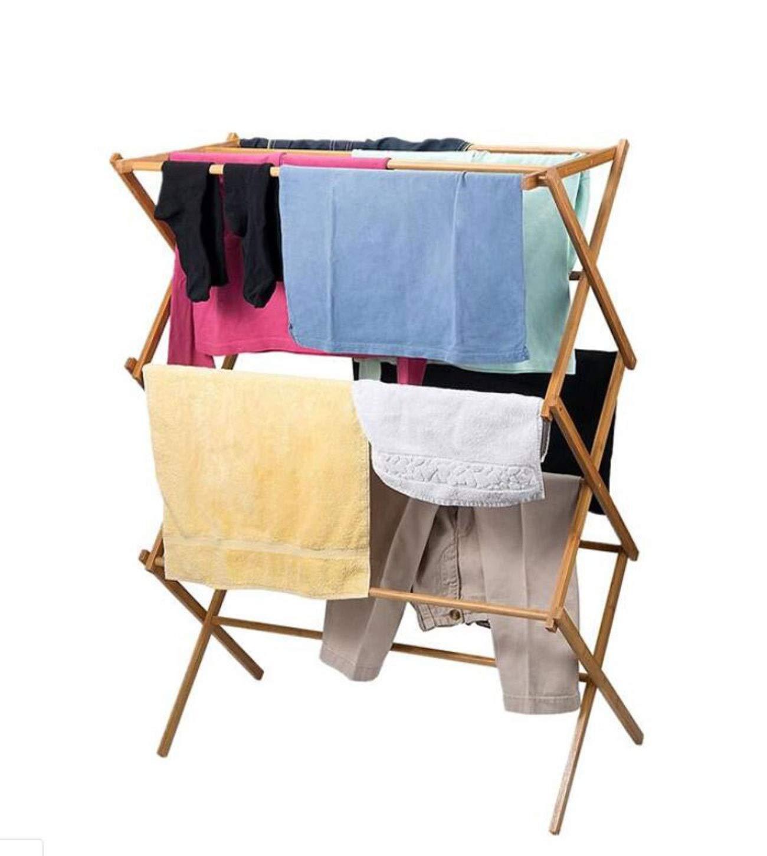 タオル掛け竹折りたたみタイプ竹無垢バルコニー屋内X型伸縮式家庭用タオル掛け乾燥ラック衣服ポール B07SBN8CJZ