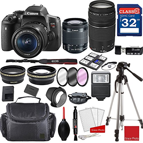 Canon EOS Rebel T6i DSLR Camera w/ EF-S 18-55mm f/3.5-5.6 IS STM and EF 75-300mm f/4-5.6 III Lenses + Professional Accessory Bundle by Canon