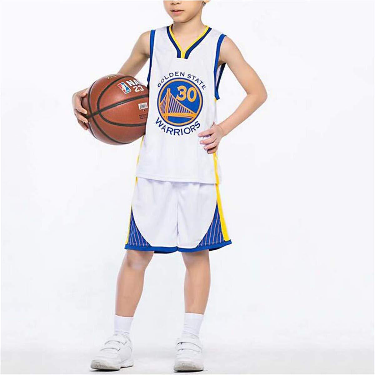 Formesy Unisex Ni/ño NBA Warriors Curry 30th Traje De Baloncesto De Verano Conjunto De Dos Piezas para Ni/ño Ni/ña