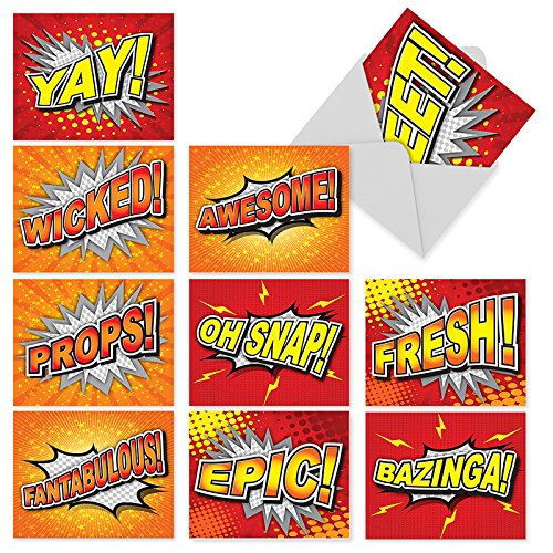 "10 All-Occasion Note Cards (with Envelopes), Assorted 'Word Bursts' Blank Greeting Cards Featuring Comic Book Exclamations, Stationery for Birthdays, Congratulations, Thank You (4"" x 5 ¼"") #M2033"