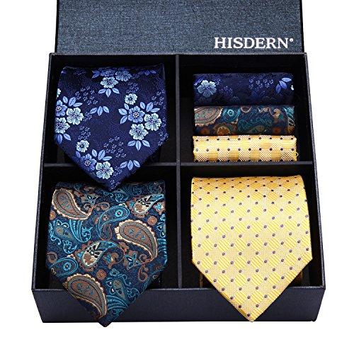 (HISDERN Lot 3 PCS Classic Men's Tie Set Necktie & Pocket Square Elegant Neck Ties Collection,T3-08,One Size)