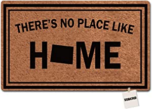 SGBASED Doormat Funny Doormat There's No Place Like Home Colorado Entrance Floor Mat Rubber Non Slip Backing Entry Way Door Mat 23.6x15.7 Inches
