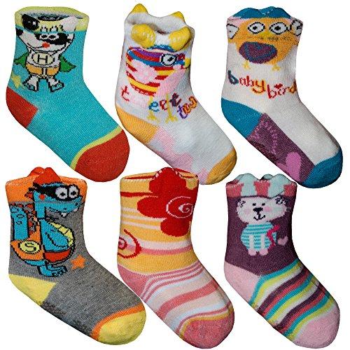 6 12 Paar 3D Baby Kinder Socken ABS Anti-Rutsch Stoppersocken Bunt Tier Blume 0-18 Monate Größe 16-22 von SGS (12 Paar)