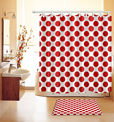 LB The Red dot Waterproof Shower Curtain 3D Digital Printing Bathroom Decorations Art Print Polyester Fabric 72x72 Inch