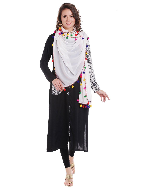 Dupatta Bazaar Woman's White Chiffon Dupatta with Multicoloured Pompom
