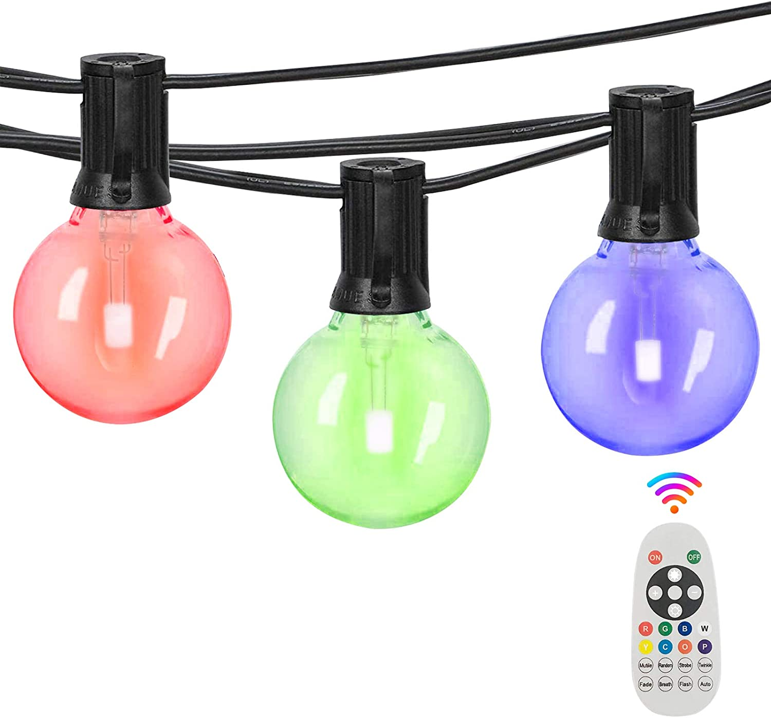 Svater Multicolor Outdoor String Lights,50ft with 25pcs E12 Socket,26pcs shatterproof G40 Bulb,RGB dimmable String Lights Remote Control,Low Voltage Patio Lights,ETL List,IP45 Waterproof