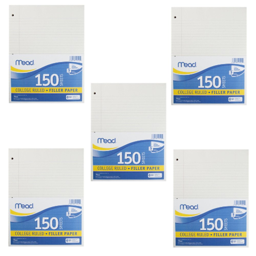 Mead Filler Paper, 150-Count, College Ruled: 5 Pack of (15111)