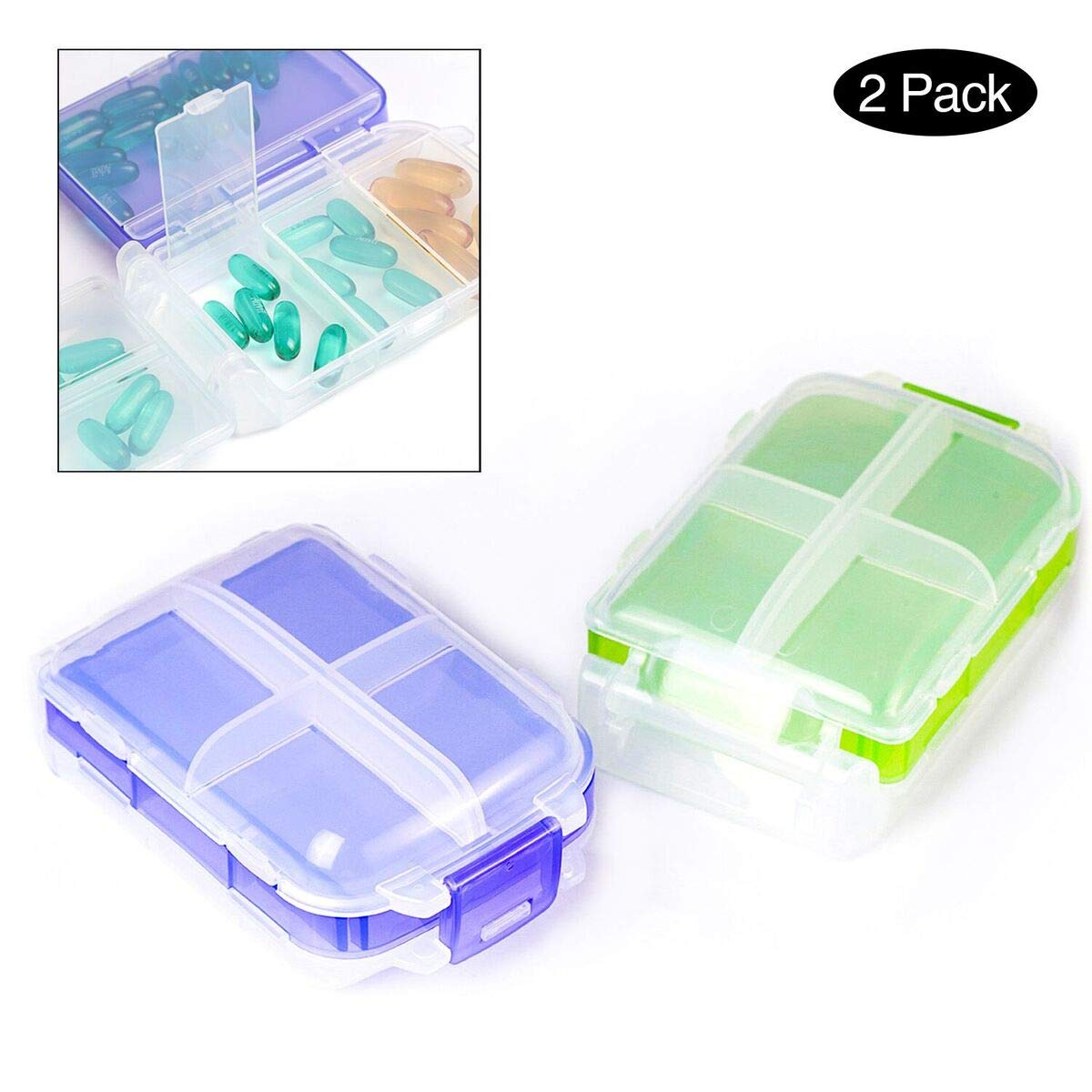 PuTwo Pill Box Large Capacity Travel Pill Case Set Pack of 2 Pill Boxes Pill Organizer Medicine Organizer Pill Holder Medication Organizer Daily Pill Organizer Travel Pill Organizer - Purple & Green