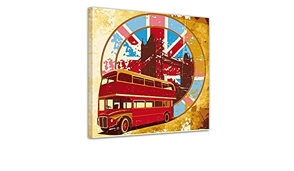 Bilderdepot24 Cuadros en Lienzo Londres Retro 40x40 cm - Enmarcado Listo Bastidor Imagen. Directamente Desde el Fabricante: Amazon.es: Hogar