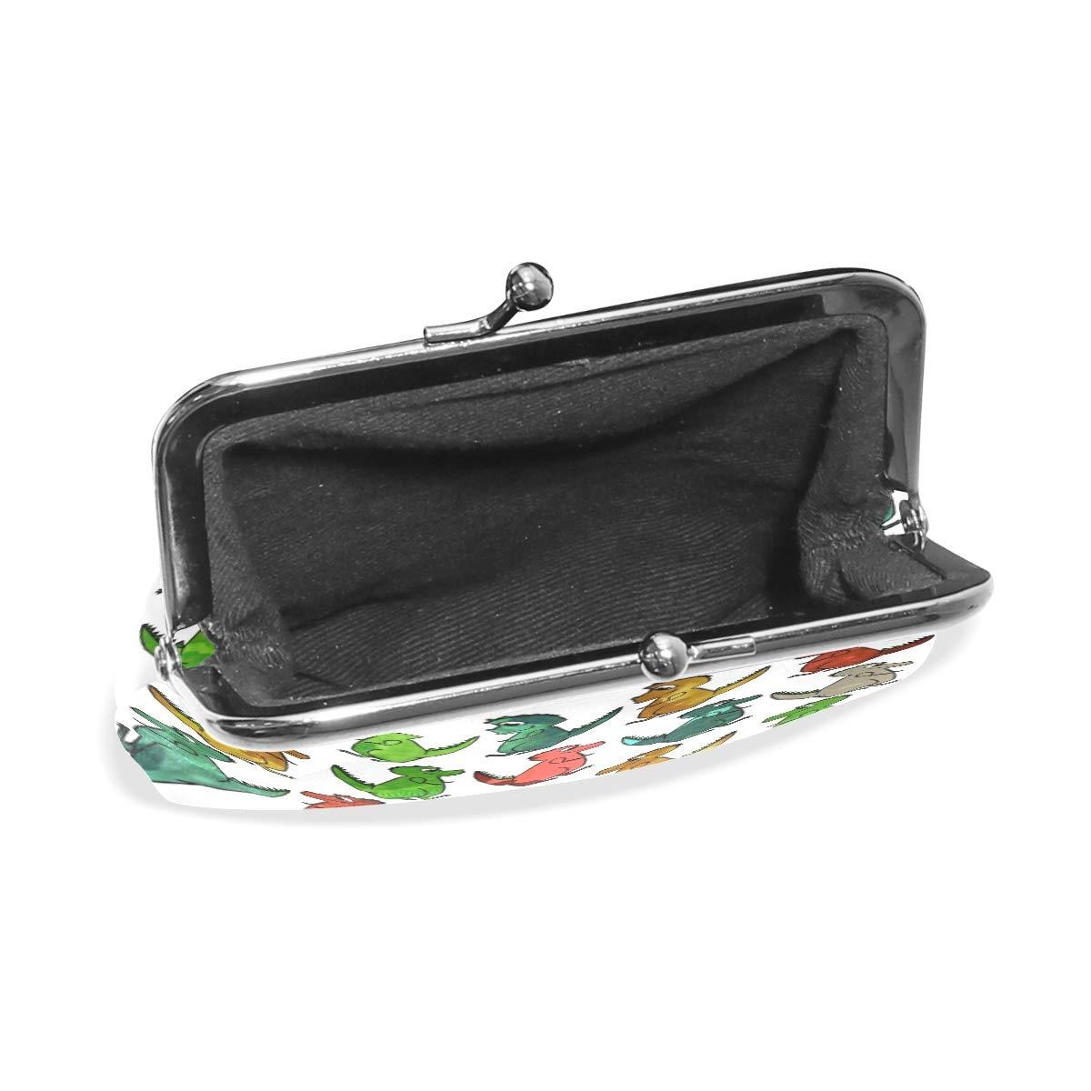TIKISMILE Dinosaur Seamless Leather Fashion Buckle Cute Coin Purse Bags Wallet