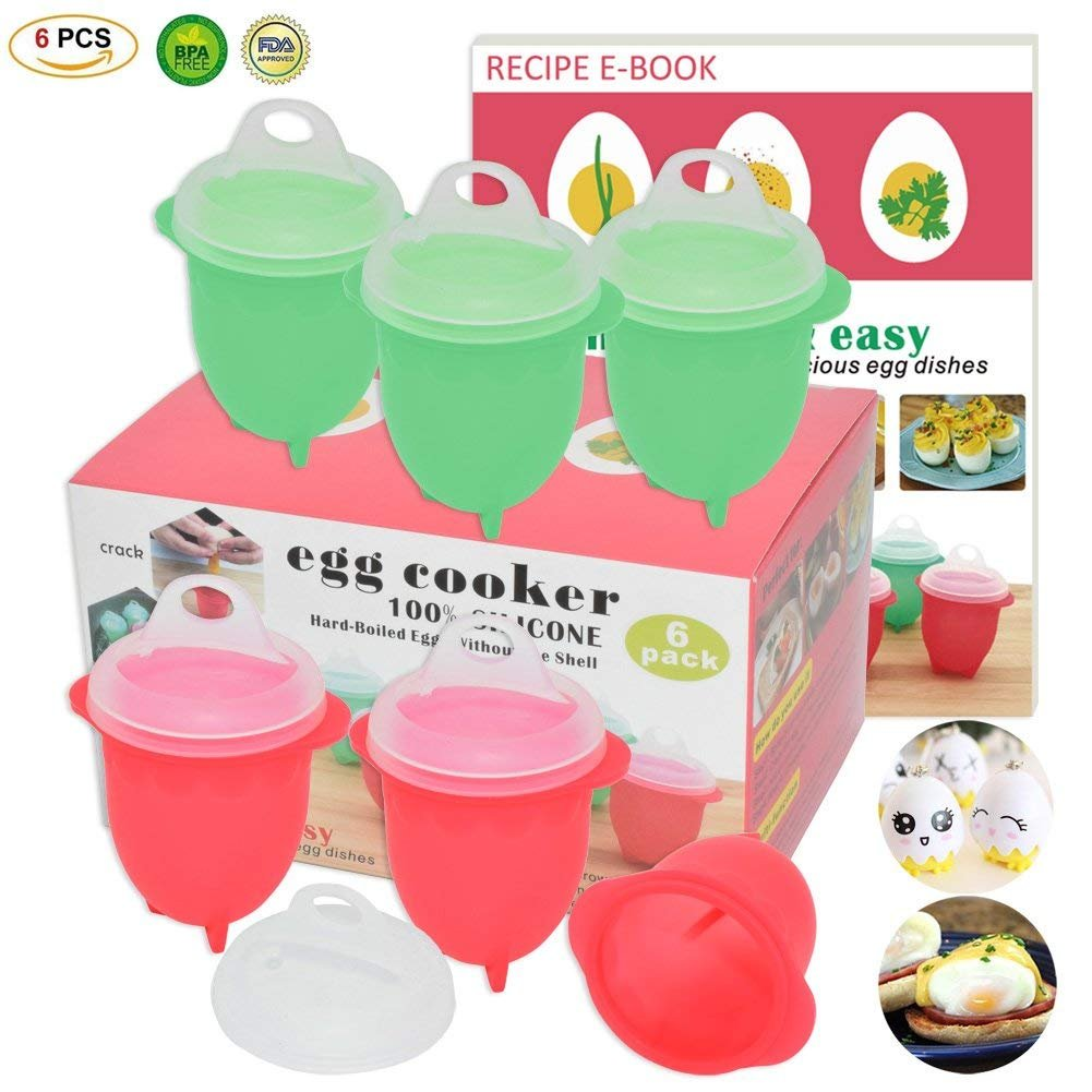 Microwave Egg Cooker-Silicone Egg Maker for Hard& Soft Boiled Eggs,Boil Eggs Without the Egg Shell,100% Pure Silicone Egg Poachers,AS SEEN ON TV,Recipe E-BOOK Included (New Upgraded Egg Cookers) by Cook Time
