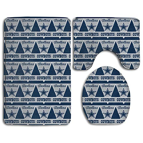 - Marrytiny Design Colorful Non Slip 3 Piece Doormat American Football Team Dallas Cowboys Anti-Skid Bathroom Rug Set Bath Mat + Contour Rug + Toilet Lid Cover