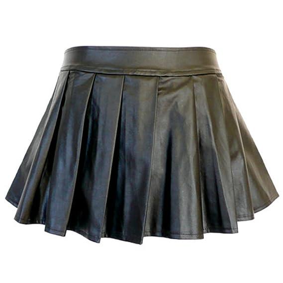 5209 - Plus Size PVC Piel Sintética plisado Sexy Mini Falda Negro ...