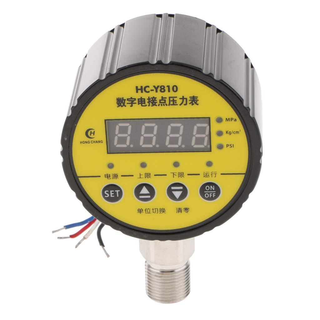 Giallo Nero 0-1.6MPA perfeclan Manometro Digitale Contatto Elettrico Vacuometro Display Misurazione Pressione