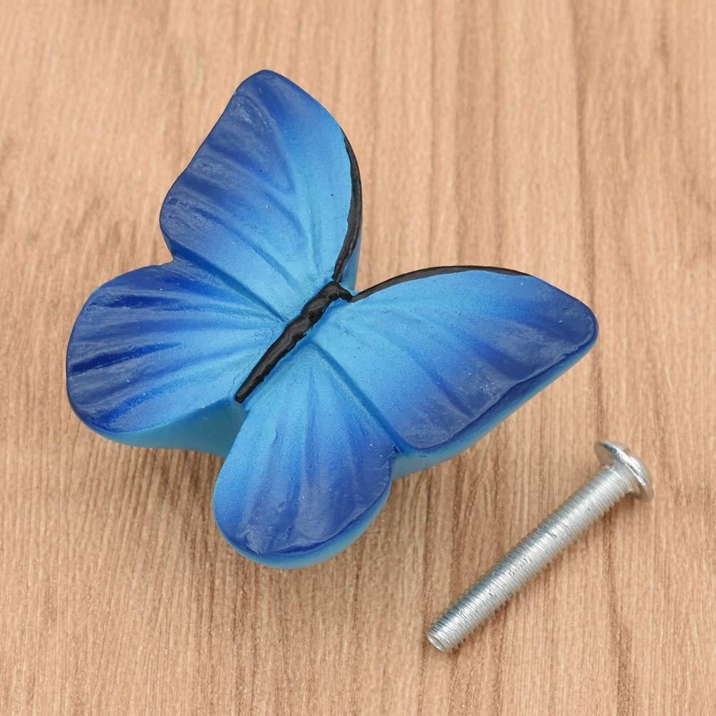 Hongma Bouton Tiroir Forme Papillon Poign/ée Armoir R/ésine Ameublement D/écoration Meuble Bleu Fonc/é