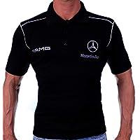 Auto-Fan Camiseta Negro Polo Hombre Bordado
