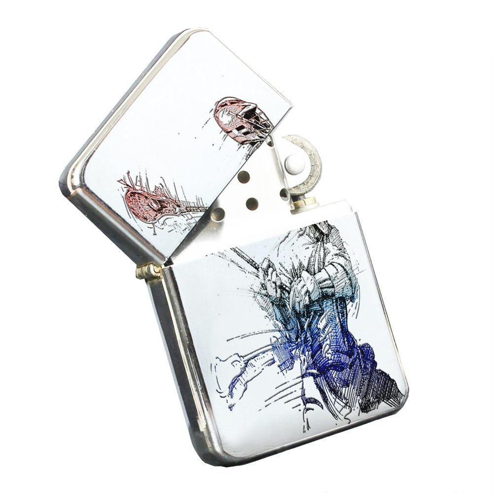 Lacrosse Player - Silver Chrome Pocket Lighter by Elements of Space
