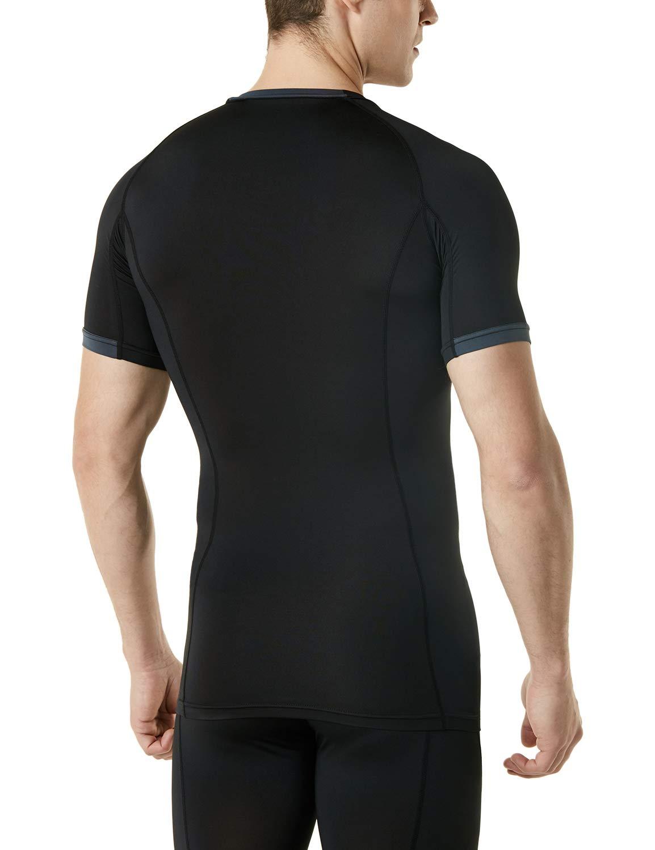 TSLA Uomo T-Shirt Manica Corta Fredda Strato Asciutto Compressione Base