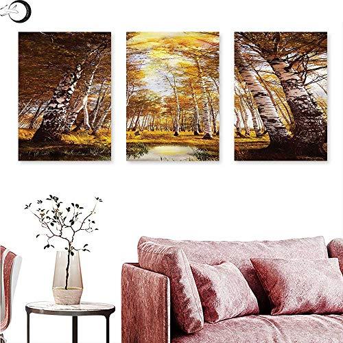 Birch Nursery River - Anniutwo Tree Poster Prints Autumn Birch Trees River Wall Panel Art W 20