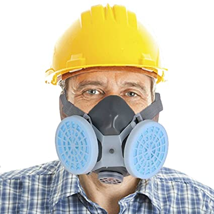 Máscara de gas eslabón, antipolvo, respirador de gas, filtro doble químico, pintura