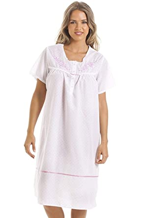 Camille Womens Ladies Soft Cosy Knee Length Short Sleeve Blue Floral Button  Front Nightdress 10  caaf701e5