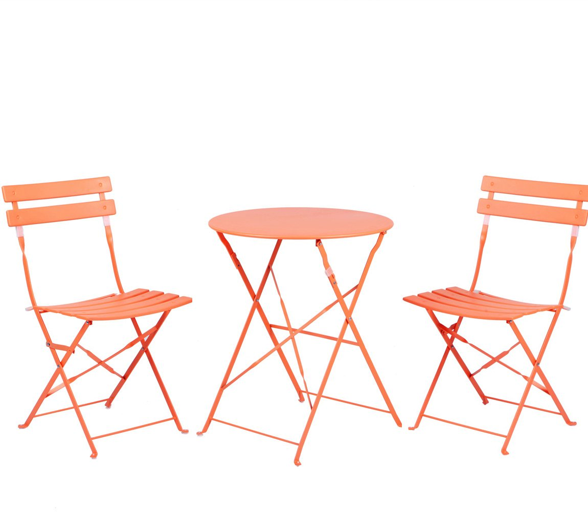 Grand Patio Premium Steel Patio Bistro Set, Folding Outdoor Patio Furniture Sets, 3 Piece Patio Set of Foldable Patio Table and Chairs, Orange