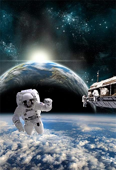 12x8ft Vinyl Space Station Backdrop Spaceship Exoplanet Universe Space Adventures Background Space Themed Party Backdrop Portrait Photoshoot Video Film Event Decor Photography Background