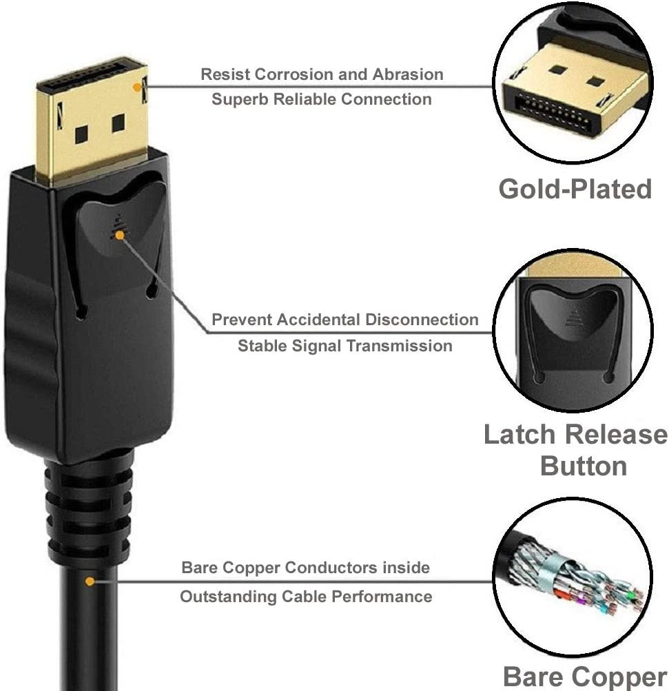 Dell HDTV REALMAX/® 2M DisplayPort to HDMI Cable DP Display Port to HDMI Adapter 4K HDTV 1080P Video Male to Male Converter Gold-Plated Cord for PC Monitor Asus Projector And Many More HP Lenovo